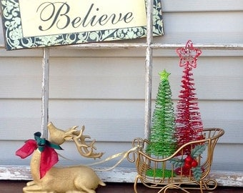 Gold Reclining Reindeer & Sleigh w/ Bottle Brush Trees / Christmas Holiday Mantel Table Top Decoration