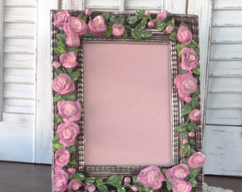 Baroque 3D Hand Painted ROSES Picture Frame - 5x7 Easel Back - Cottage Chic Romantic Table Top