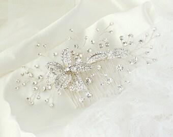 Natalie Hair Comb, Crystal Bridal hair comb, Wedding hair accessories, Bridal Headpieces, Bridal Flower Hair Accessories, Wedding Hair Comb