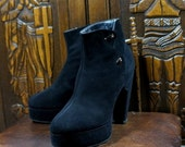RARE 1940s Platform Boots Haute Couture Black Suede Size 5 Shoes Vintage 40s Heeled Booties Custom Made Button Boots John Du Brow Pepenie