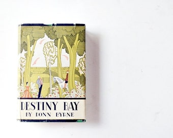 Vintage 1940's Fiction Book - Destiny Bay by Donn Byrne - Art Deco Cover Art by Frank McIntosh, Irish Spring Green Home Decor, Gifts for Her