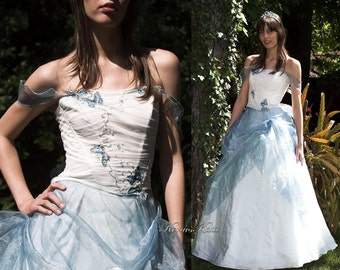 Romantic Blue Silk Ball or Wedding Gown - Butterfly