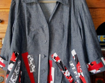 Upcycled Artsy Linen Denim Jacket 3X 2X Asian Flair