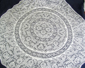 """Vintage Ivory Floral Lace Tablecloth  70"""" Round"""