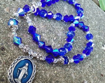 Royal Blue Iridescent Beaded Miraculous Medal Necklace