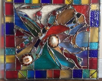 OOAK Stained Glass Transom Window Contemporary Nuggets Sea Shells Agate Panel