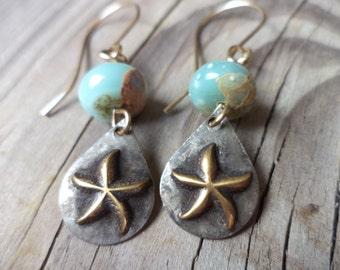 Rustic Brass Starfish African Opal Dangle Drop Earrings Summer Beach Earrings Starfish Jewelry Beach Themed Earrings