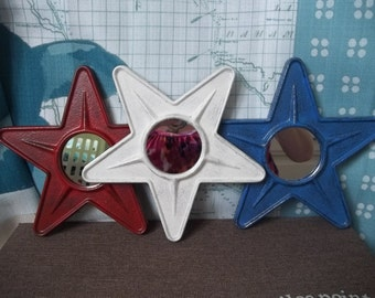 Vintage Wall Mirrors Set of 3 Patriotic Red White and Blue Star Mirrors  Rustic Country Metal Stars WALL DECOR