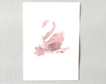 Instant Download Reverse Rose Swan Watercolour Art Print