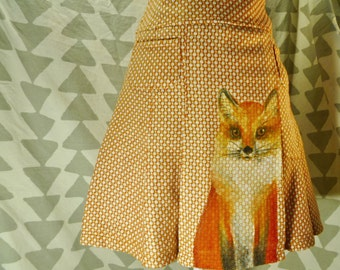 Red Fox Skirt - Hand Painted Clothing - Wearable Artwork - orange woven vulpes pattern wildlife painting