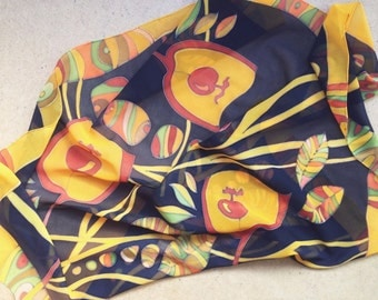 Sunshine silk scarf. Hand painted yellow and black silk scarf. Made to order!