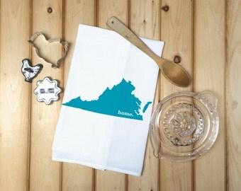 Virginia State Flour Sack Towel, Virginia State Tea Towel, Kitchen Decor, Flour Sack Tea Towel, House warming gift, Wedding gift, State Art