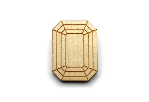 Emerald brooch - fake stone pin - fake bling diamond - rectangular brooch - offbeat graphic trompe-l'oeil jewelry - lasercut maple wood