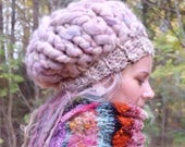 Slouchy hat woman Chunky beanie Thick knit hat Chunky crochet hat Pastel hat Warm beret Woman beanie hat Dreadlocks hat Oversized hat SALE