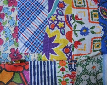 vintage 40 fabric scraps grab bag lot quilting 4G