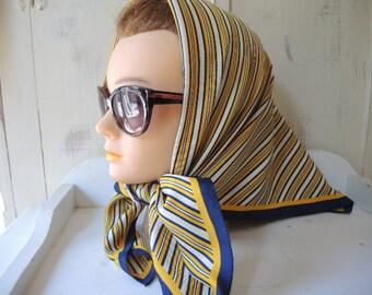Vintage 1970s polyester scarf diagonal stripes yellow navy blue white  26.5 x 27 inches