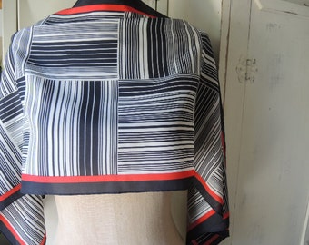 Vintage 1970s polyester scarf red black and white graphic linear geometric 13 x 43 inches