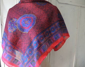 Vintage sheer scarf ornate 31 x 31 inches
