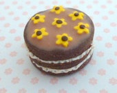 1:12 scale Chocolate Cake with yellow flowers....handmade.....miniature