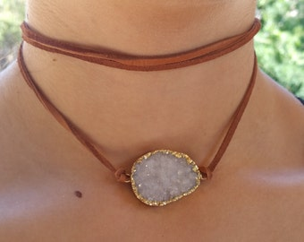 Geode Druzy Leather Wrap  Choker Necklace and Wrap Bracelet, Fall Jewelry, Beach Vibe, Necklace, Bohemian Jewelry