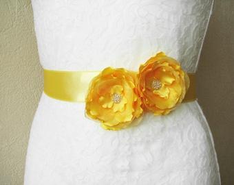 Wedding Sash, Yellow Bridesmaid Belt, Wedding Floral Accessory, Bridal Sash, Satin Flower Belt