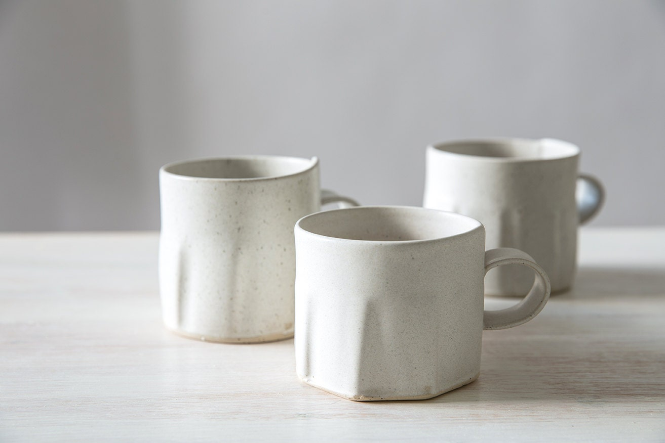 Ceramic Tea Cup Modern Coffee Mug White Ceramic Cup White