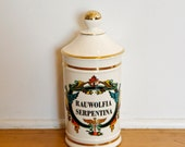 RESERVED for Phyllis...vintage apothecary canister…Rauwolfia Serpentina…Indian Snakeroot…high blood pressure, insomnia, hysteria.