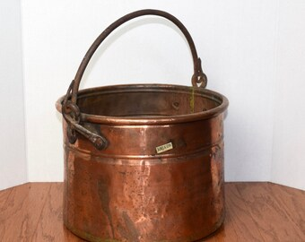 Vintage copper cauldron...large Turkish copper planter...Fall copper bucket, pail, pot...made in Turkey...rustic...primitive.
