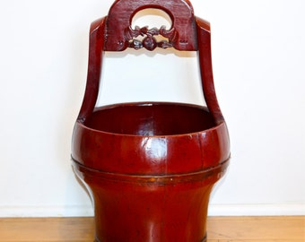 Vintage Asian wood bucket…hand made Asian water bucket…red lacquered bucket.