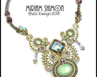Soutache necklace with Swarovski elements in Pacific Opal, silver and Lilac