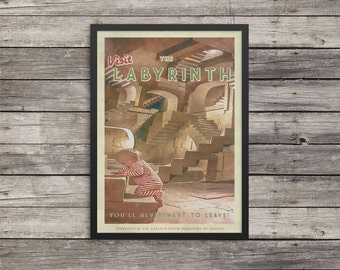 Labyrinth Poster   Labyrinth travel poster    Vintage look print   Vintage travel