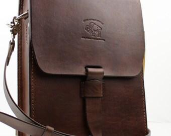Leather Satchel Vintage Style Distressed  Handmade iPad Messenger 134