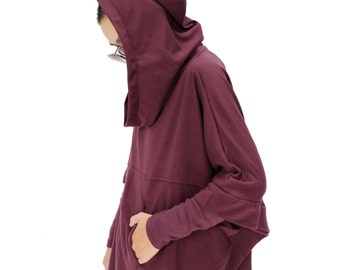 NO.176 Maroon Cotton-Blend Jersey Stylish Pullover Hooded Sweater, Dolman Sleeve Poncho, Women's Sweater