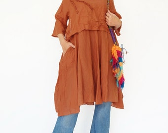 NO.145 Rust Cotton Floral Appliqué Tunic Dress, Day Dress