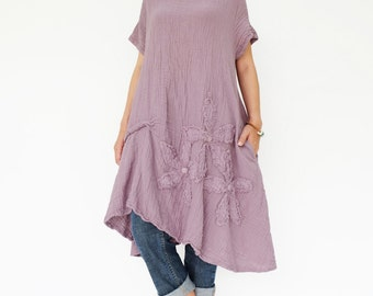 NO.200 Dusty Lilac Double Cotton Gauze Floral Appliqué Tunic Dress,  Short Sleeves Tunic, Women's Dress