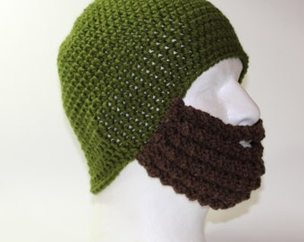 Crochet Bearded Skullcap - Beard Hat - Olive Green Hat With Beard Face Warmer - Ready To Ship!