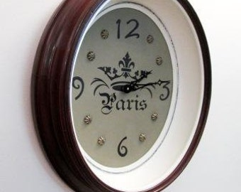 Vintage Repurposed Picture Frame Wall Clock Walnut French Country Chic Home Decor