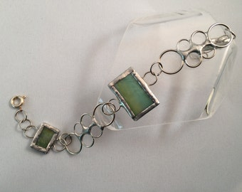 Stained Glass Bracelet Green, Recycled Glass Bracelet