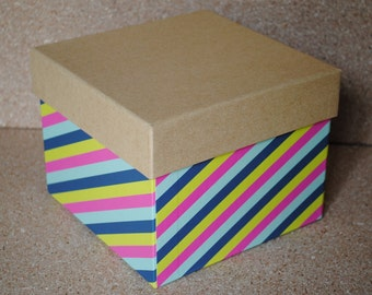 Diagonal Stripes and Kraft Top Storage Box with Pink Interior
