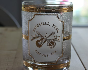 Vintage Nashville Tenn, Music City USA Glass,  22K GOLD - made by Culver, Vintage, Heavy Gold and Glass textured double Old Fashioned glass