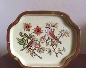 Vintage Bird Design Little Tin Tray