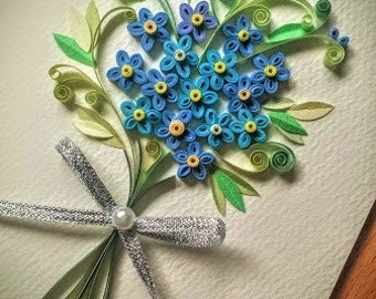 Paper Quillied Forget me not Flower Bouquet - Wedding card,love card,Mothers day,Happy Birthday,Congratulations , Happy Anniversary Card