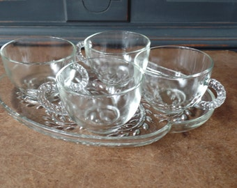 Vintage Cut Glass Snack Set, Clear, Set of 4 Cups, Plates, Serving, New In Box, Kitchen & Dining, Home, Gift Set