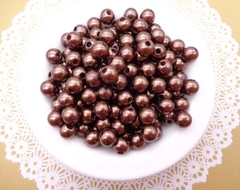 SALE--300pc 8mm Faux Pearl Beads,Coffee  Plastic Beads