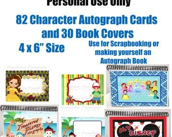 Character Autograph Cards - DIY Disney Autograph Book - Disney Scrapbooking Cards - Instant Download