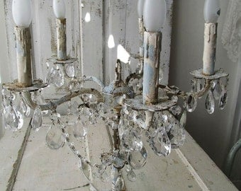Candelabra lighting table chandelier distressed French chic blue w/ Nordic white shabby cottage chic electric home decor anita spero design