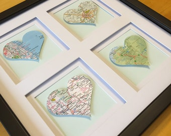 Square Heart Map- 4 opening, Personalized Framed Artwork for Wedding, Engagement, or Housewarming present, Black Frame/ White Mat