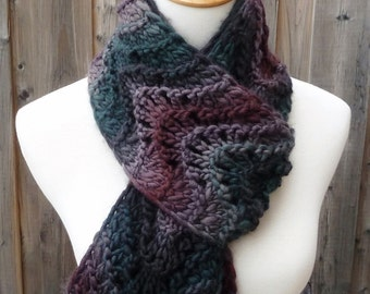 Merino Wool Scarf - Feather and Fan Scarf  - Multicolor Scarf  - Gray, Purple and Green Scarf -  Long Scarf - Ready to Ship