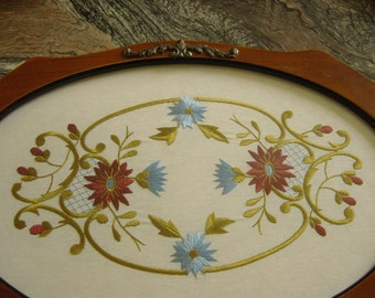 Vintage English 1950s Glass and Embroidered Vanity Dressing Table Tray