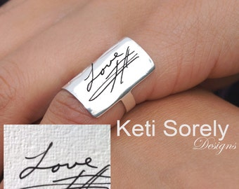 Handwriting Ring in Sterling Silver or 10K or 14K Solid Gold - Hand Engraved Signature Ring -  Message Ring - Yellow Gold or Rose Gold